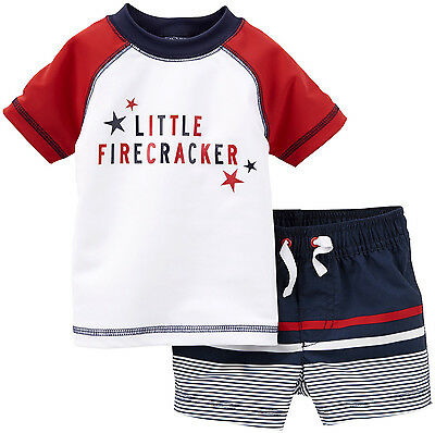 NEW Carters Baby Boys 2 Pc Rashguard Swimset Red White Blue 4th July 3 6 9 Month