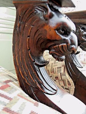Best of Antique Figural Carved Marquetry Inlay Empire Gothic Lion Arm Chair No 2