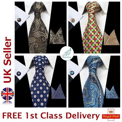 100% Silk Woven Mens's Tie with Cufflinks and Handkerchief Set Wedding/Business