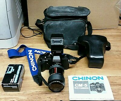 Chinon CM-5 SLR Camera with 35~80mm Lens & Auto S- 200 Flash (Case Included)