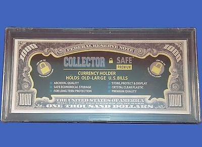 Collector Safe Acrylic Currency Snap Lock Holder for Large Bills