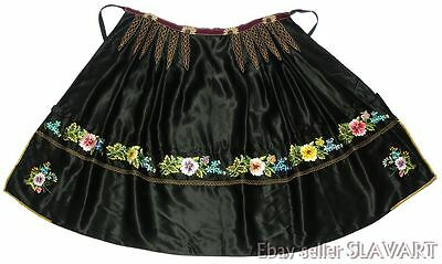 CZECH FOLK COSTUME hand-embroidered apron Moravian kroje floral ethnic peasant