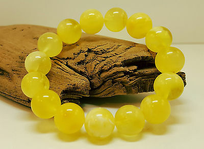 Bracelet Natural Baltic Amber Stone 16,9g Bead Rounded Vintage White Old C-275