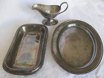 Antique ARLINGTON HOTEL Reed & Barton Silver Soldered Platters and Creamer