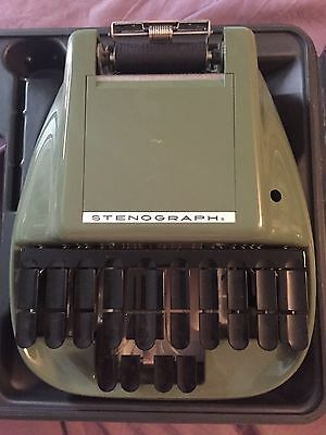 Vintage stenograph machine short hand machine green with tripod and paper