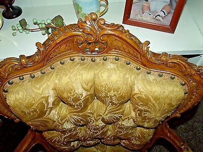 Antique Fine Highly Carved French Arm Chair Pierced Carving Early 1900s