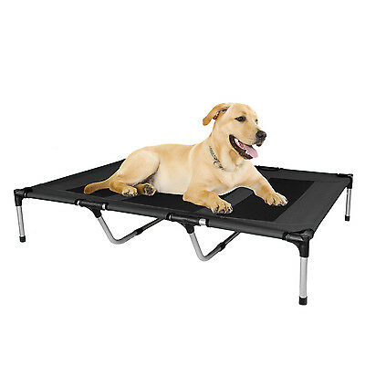 Dog Bed Elevated Outdoor Portable Canvas For Pets Black X-Large Canvas Kopeks
