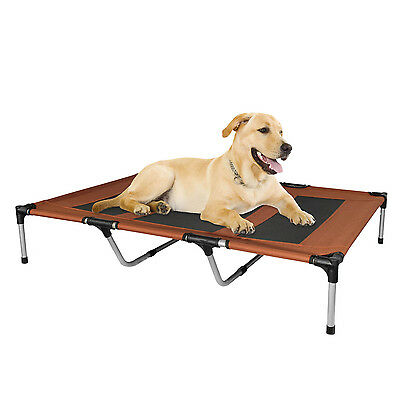 Dog Bed Elevated Outdoor Portable Canvas For Pets Brown X-Large Canvas Kopeks