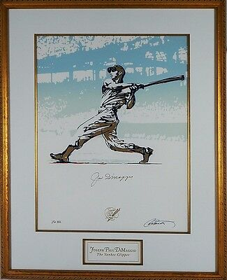 Joe Dimaggio & Carlo Beninati Hand Signed Serigraph in Gold Foil Framed