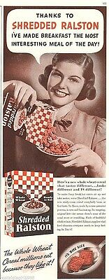 "1939 Shredded Ralston Cereal Breakfast Young Woman Print Ad 5.25"" x 13.5"""