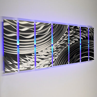 Color Changing LED Modern Abstract Metal Panels Silver Wall Art Sculpture Decor