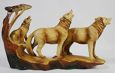 WOLF FAMILY FAUX WOOD CARVING Figurine Statue Art Howling Wolves PackWildlife