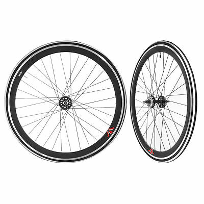 Fixie Single Speed Road Bike Track Wheel Wheelset Deep V + Tyres Black