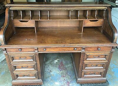 Vintage Drexel Roll Top Desk! Secret Door With Key