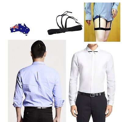 Shirt Garter Stays Suspender Brace Belt Elastic Military Holder Straight Men x 2