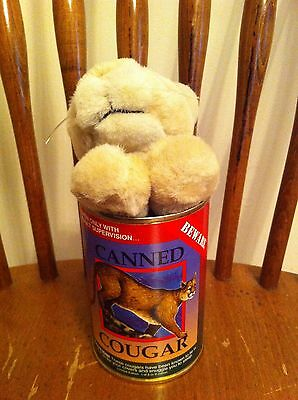 vintage Northern Gifts Inc. Cougar In A Can plush stuffed animal Limited Edition