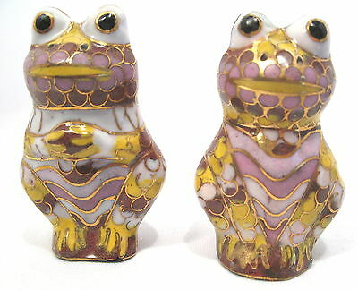 Collectible Pair (2) Cloisonne Frog Figurine