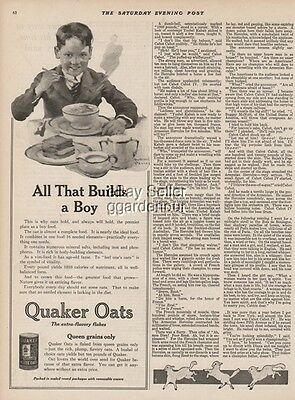 1923 Quaker Oats All That Builds a Boy William Meade Prince Kitchen Decor Art Ad