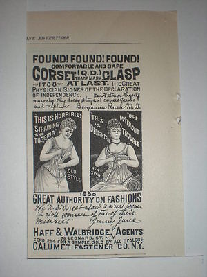 1888 Calumet Fastener Co NY Lady in Corset Ad