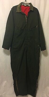 Mens Walls Blizzard Pruf Coveralls Quilt Lined Insulated XXL TALL GREEN