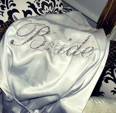 MADE TO ORDER Personalized Knee Length Bridal Robe Made with Swarovski Crystals