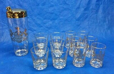 Vintage Mid Century Cocktail Shaker & Glasses Gold Pennsylvania State Seal Rare