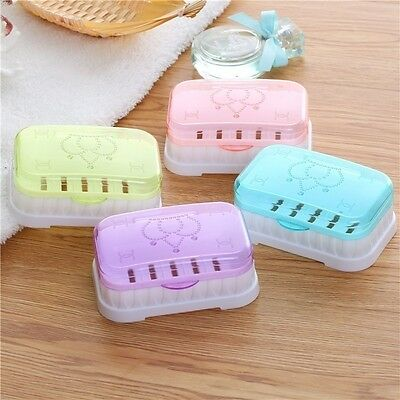 Bathroom Shower Candy Color Soap Box Dish Holder Travel Carry Case Decor
