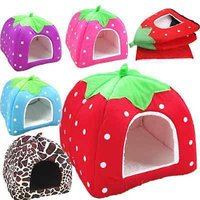 Newly Soft Strawberry Pet Puppy Dog Cat Bed House Kennel Cushion Basket Warm