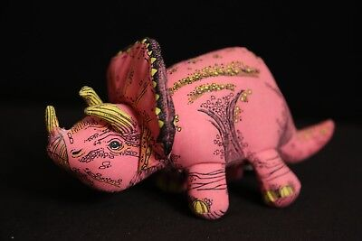 Applause 1992 Triceratops Pink Dinosaur Plush Toy Doll