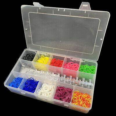 LARGE LOOM BAND STORAGE KIT Case Box 2000 Bands Board Refill + Free Charms BULK