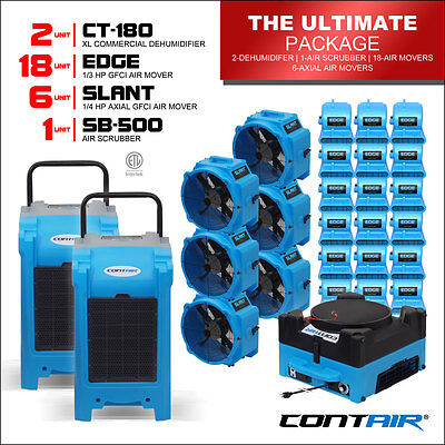 Water Damage Commercial Dehumidifiers and Air Movers and Air Scrubbers in Blue
