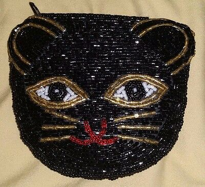 Adorable BLACK Kitty Kitten CAT Face Beaded COIN Purse