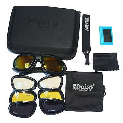 Daisy C5 Polarized Army Goggles Military Sunglasses 4 Lens Men Tactical Glasses