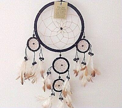 Large Black Dream Catcher Suede Leather Kids Bedroom Decor