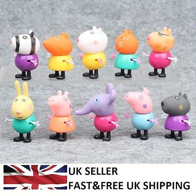 Peppa Pig Family Friends 10 Pcs Cartoon Action Figures Toys Doll Kids Gifts UK