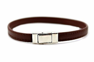 Mens Flat Nappa leather Bracelet with Sterling Silver Clasp / Closure - Brown