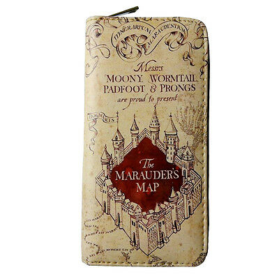 New Harry Potter Wallet Purse Hogwarts Marauders Map Badge Castle Crest Satchel