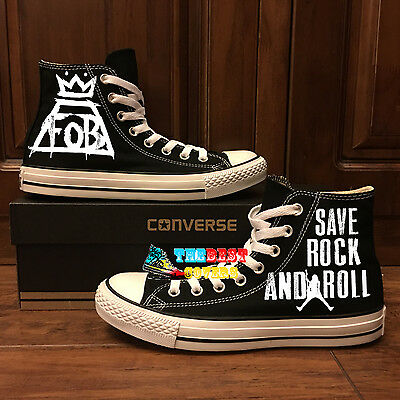 7c0009bb7ff4 CONVERSE All Star FALL OUT BOY FOB rock band hand painted shoes zapatos