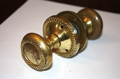 Old Set of Detailed Brass Coloured Door Knobs (Come off Victorian)