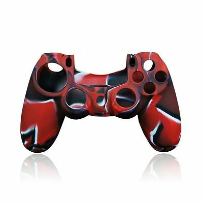 Custodia Cover Silicone per Controller Joypad Sony PlayStation 4 PS4 Rosso Nero