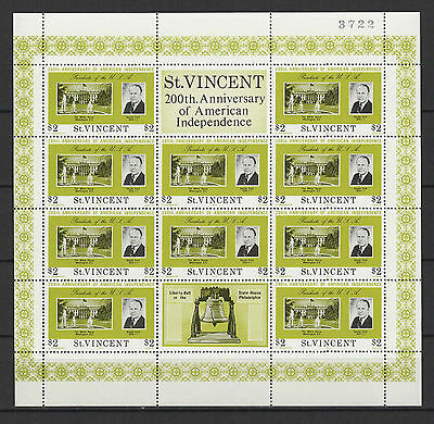 $2 SAINT-VINCENT 1975 American Independence feuillet 10 timbres neufs  /B5F3