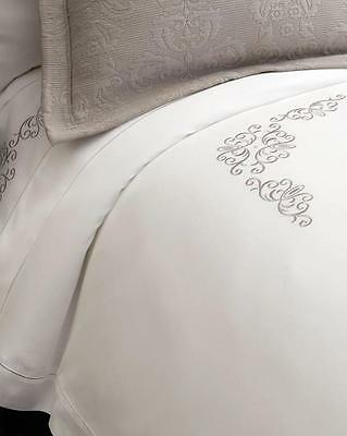 Sferra Ardyn Fiona Embroidered Egyptian Cotton Queen Duvet Cover White New