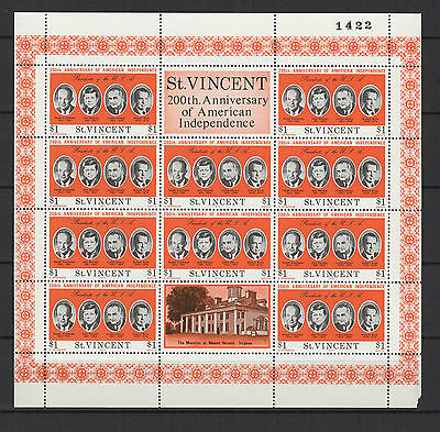 $1 SAINT-VINCENT 1975 American Independence feuillet 10 timbres neufs  /B5F3
