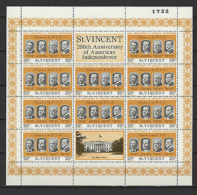 25c SAINT-VINCENT 1975 American Independence feuillet 10 timbres neufs  /B5F3