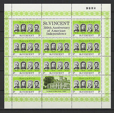 5c SAINT-VINCENT 1975 American Independence feuillet 10 timbres neufs  /B5F3