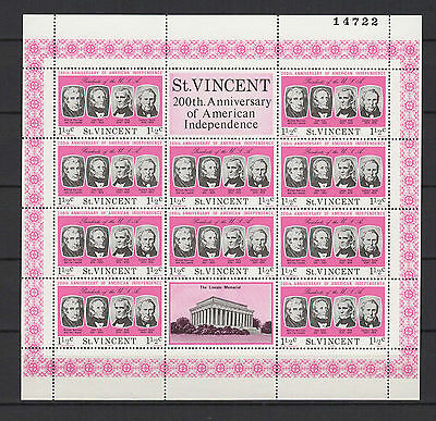 11/2c SAINT-VINCENT 1975 American Independence feuillet 10 timbres neufs  /B5F3