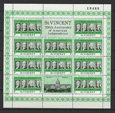 1c SAINT-VINCENT 1975 American Independence feuillet 10 timbres neufs  /B5F3