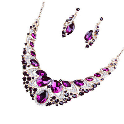 Jewelry Sets Women Fancy Color Wedding Party Bridal Crystal Necklace Sets