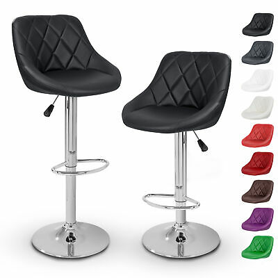 TRESKO® 2 x Bar Stools Faux Leather Swivel Kitchen Lounge Breakfast Stool Chair