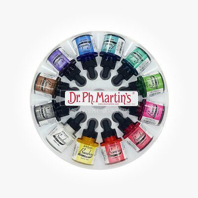 Dr Ph Martins Bombay Indian Ink - 12 x 30 ml (1 oz) Set 1 - NEW style!